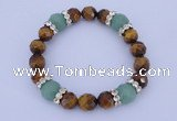CGB324 7.5 inches faceted round green aventurine & tiger eye  bracelet