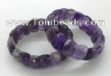 CGB3292 7.5 inches 10*20mm faceted oval amethyst bracelets