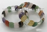 CGB3295 7.5 inches 10*20mm faceted oval mixed gemstone bracelets