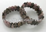 CGB3318 7.5 inches 10*20mm faceted oval rhodonite bracelets