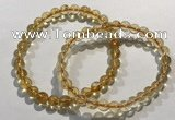 CGB4022 7.5 inches 7mm round citrine beaded bracelets wholesale