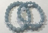 CGB4037 7.5 inches 8mm faceted round aquamarine beaded bracelets
