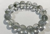 CGB4045 7.5 inches 12mm round green phantom quartz beaded bracelets
