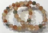CGB4072 7.5 inches 9mm round mixed rutilated quartz beaded bracelets