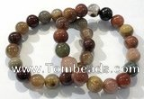 CGB4073 7.5 inches 12mm round mixed rutilated quartz beaded bracelets