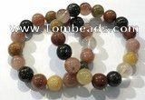CGB4074 7.5 inches 13mm round mixed rutilated quartz beaded bracelets