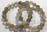 CGB4079 7.5 inches 10mm round golden rutilated quartz beaded bracelets