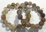 CGB4083 7.5 inches 14mm round golden rutilated quartz beaded bracelets