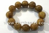 CGB4091 7.5 inches 18mm round golden rutilated quartz beaded bracelets