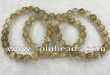 CGB4115 7.5 inches 8mm - 9mm round golden rutilated quartz beaded bracelets