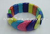 CGB417 7.5 inches 24*25mm dyed turquoise gemstone bracelet