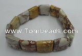 CGB421 7.5 inches 14*14mm square red mud jasper gemstone bracelet