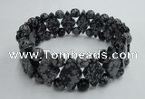 CGB425 7 inches 6mm round & 10*17mm diamond snowflake obsidian bracelet