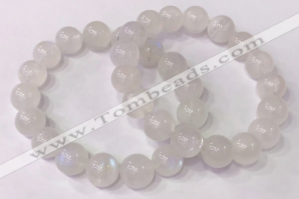 CGB4503 7.5 inches 12mm round white moonstone beaded bracelets