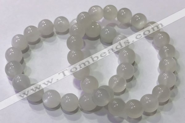 CGB4517 7.5 inches 10mm round white moonstone beaded bracelets
