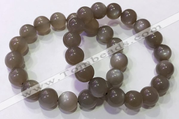 CGB4526 7.5 inches 12mm round grey moonstone beaded bracelets