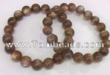 CGB4550 7.5 inches 11mm round sunstone beaded bracelets