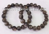 CGB4554 7.5 inches 11mm - 12mm round black sunstone beaded bracelets
