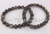 CGB4573 7.5 inches 8mm - 9mm round black sunstone beaded bracelets