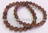 CGB4625 7mm - 8mm round red rutilated quartz beaded bracelets