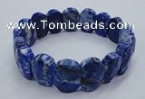 CGB519 8 inches 12*16mm faceted oval natural lapis lazuli bracelet