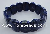 CGB520 8 inches 15*20mm faceted rectangle natural lapis lazuli bracelet