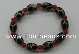CGB58 2PCS Tibetan agate dZi beads & red agate stretchy bracelet