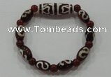 CGB73 2PCS Tibetan agate dZi beads & red agate beads stretchy bracelet