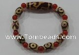 CGB74 2PCS Tibetan agate dZi beads & red agate beads stretchy bracelet