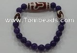 CGB79 2PCS Tibetan agate dZi beads & purple jade beads stretchy bracelet