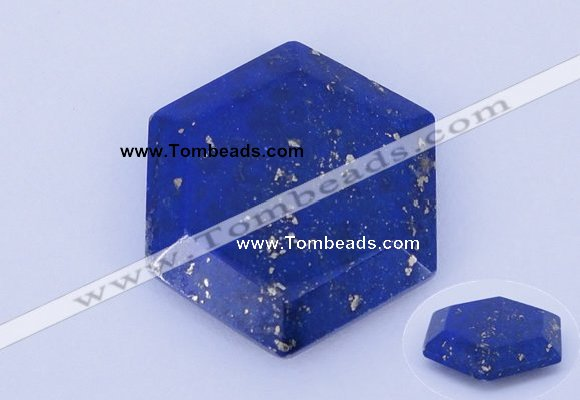 CGC52 6*27mm hexagon natural lapis lazuli gemstone cabochons