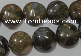 CGE125 15.5 inches 15mm flat round glaucophane gemstone beads