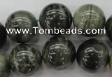 CGH08 15.5 inches 18mm round green hair stone beads wholesale