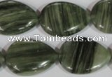 CGH15 15.5 inches 20*27mm flat teardrop green hair stone beads