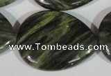 CGH16 15.5 inches 30*40mm flat teardrop green hair stone beads