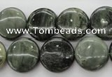 CGH18 15.5 inches 12mm flat round green hair stone beads wholesale