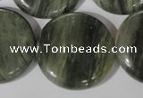 CGH24 15.5 inches 30mm flat round green hair stone beads