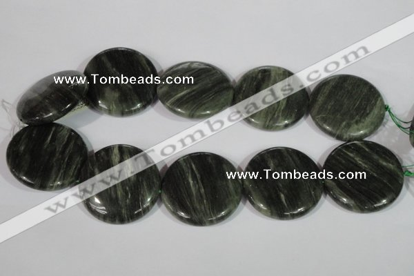CGH25 15.5 inches 40mm flat round green hair stone beads