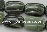 CGH30 15.5 inches 18*25mm rectangle green hair stone beads wholesale