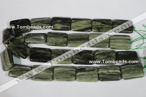CGH31 15.5 inches 22*30mm rectangle green hair stone beads
