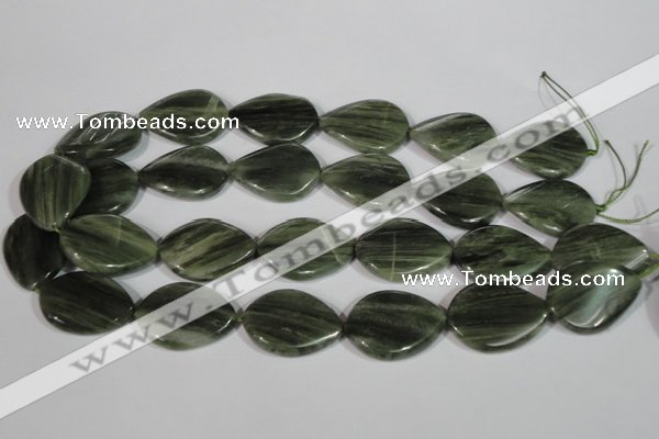 CGH35 15.5 inches 22*30mm twisted teardrop green hair stone beads