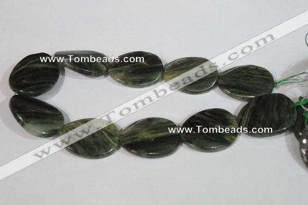 CGH40 15.5 inches 30*40mm twisted oval green hair stone beads