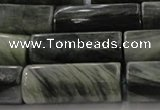 CGH60 15.5 inches 15*22mm faceted tube green hair stone beads