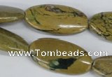 CGJ06 15.5 inches 15*30mm oval green line jasper gemstone beads wholesale