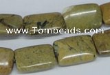 CGJ09 15.5 inches 13*18mm rectangle green line jasper beads wholesale