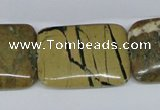CGJ11 15.5 inches 22*30mm rectangle green line jasper beads wholesale