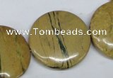 CGJ12 15.5 inches 30mm flat round green line jasper beads wholesale