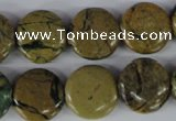 CGJ17 15.5 inches 16mm flat round green line jasper beads wholesale