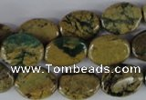 CGJ34 15.5 inches 12*16mm oval green line jasper beads wholesale