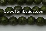 CGJ461 15.5 inches 6mm faceted round green jasper beads wholesale
